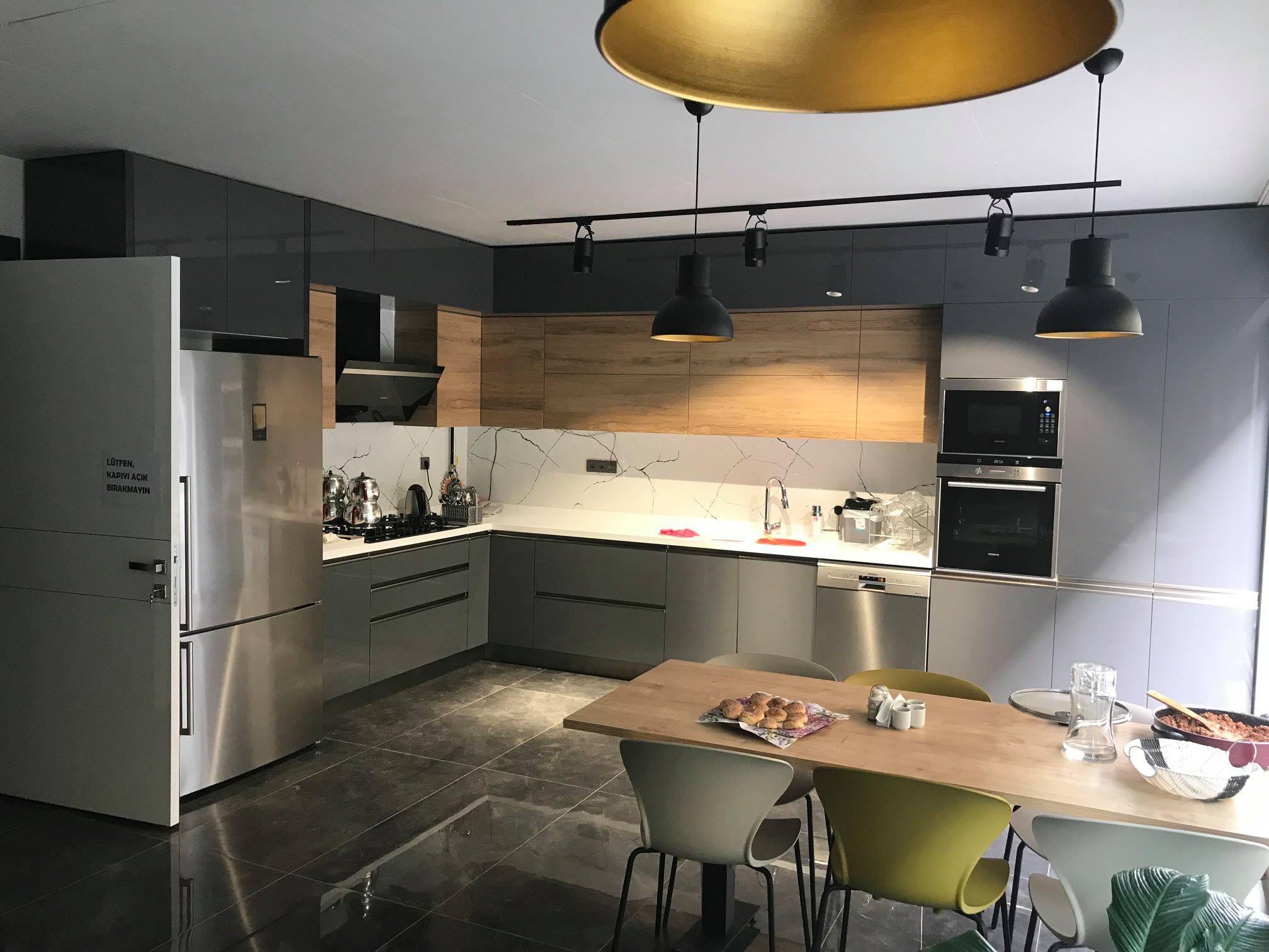 Ankara tavana kadar mutfak dolabı ahşap tezgah arası